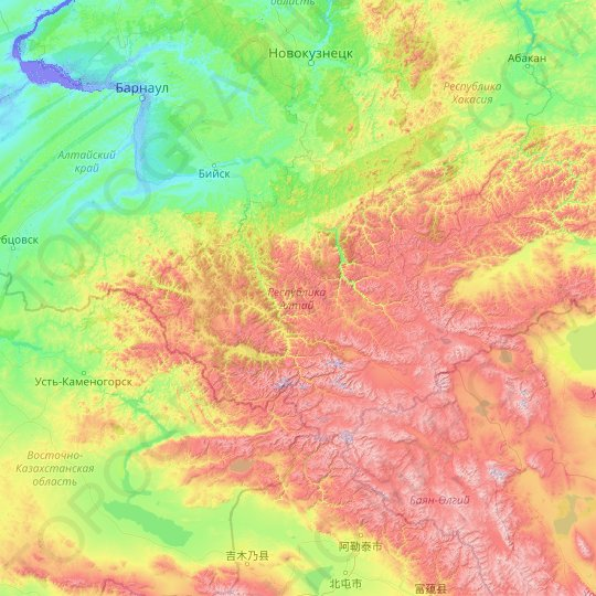 Altai Republic topographic map, relief map, elevations map