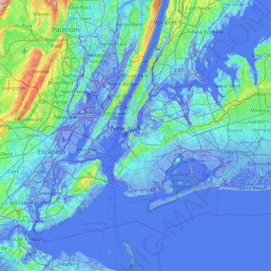 New York topographic map, relief map, elevations map