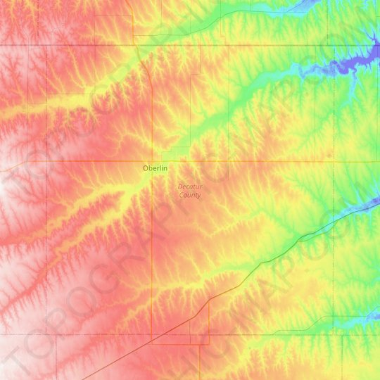 Decatur County topographic map, elevation, relief