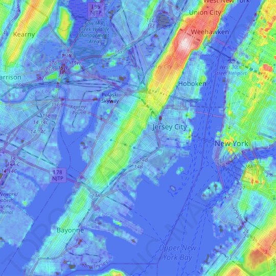 Jersey City topographic map, relief map, elevations map