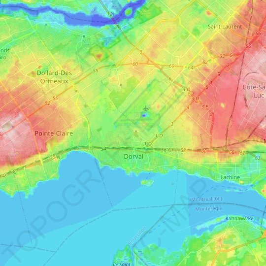 Dorval topographic map, relief map, elevations map