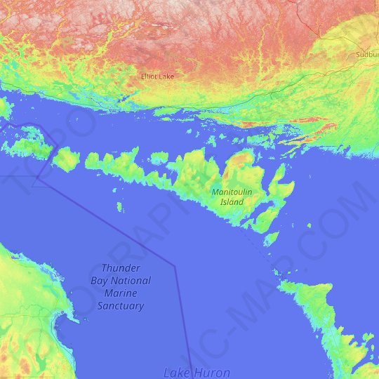 Manitoulin Island topographic map, elevation, relief