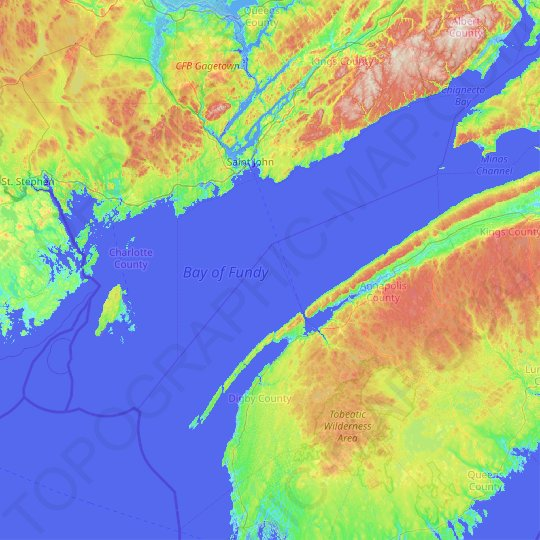 Bay of Fundy topographic map, elevation, relief