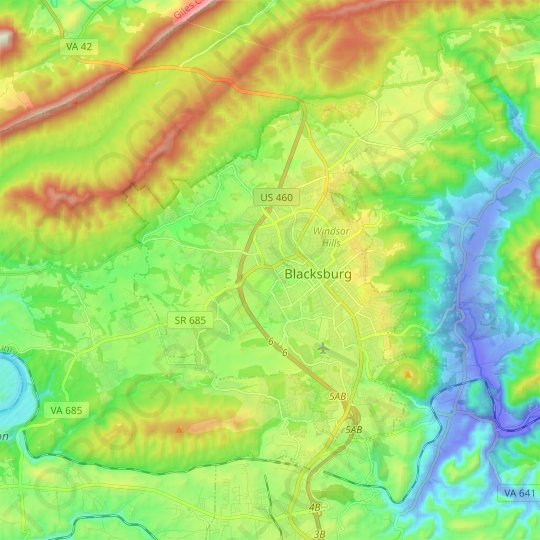 Blacksburg topographic map, relief map, elevations map