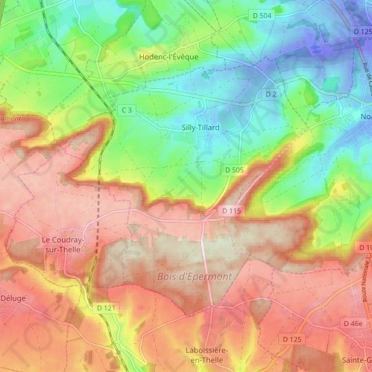 Silly-Tillard topographic map, elevation, relief