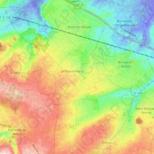 Le Mesnil-Patry topographic map, relief map, elevations map