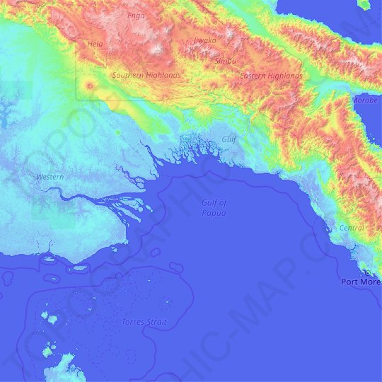 Gulf of Papua topographic map, relief map, elevations map
