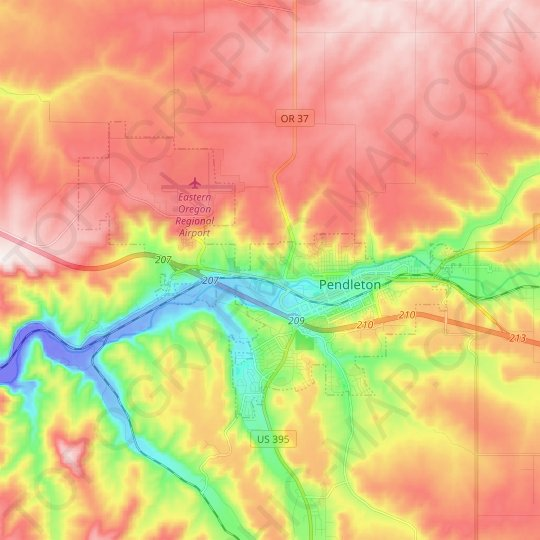 Pendleton topographic map, relief map, elevations map