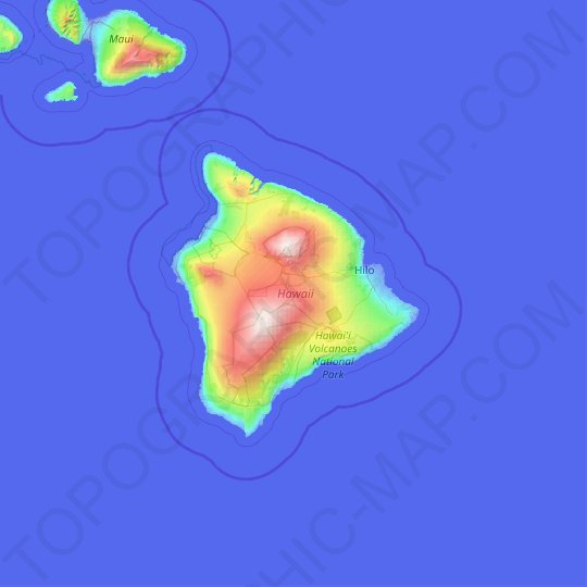 Hawaiʻi County topographic map, relief map, elevations map