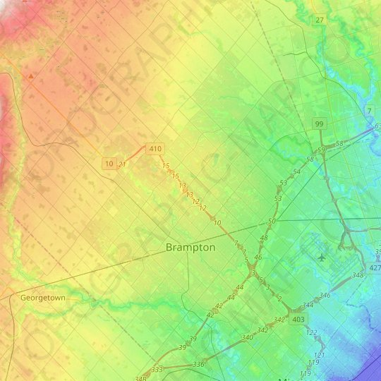 Brampton topographic map, elevation, relief