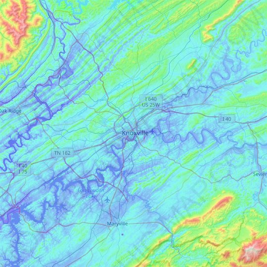Knoxville topographic map, relief map, elevations map