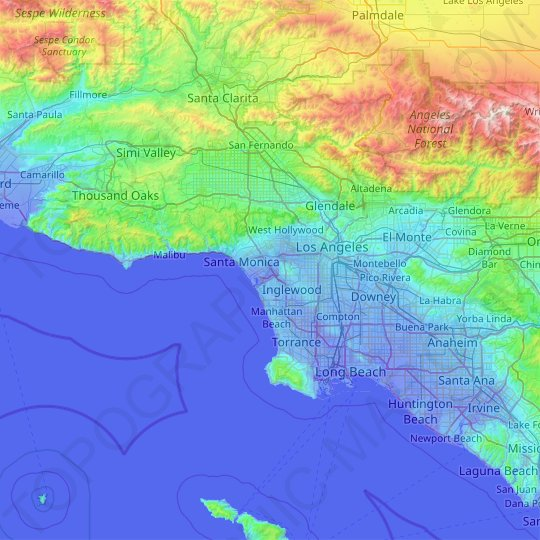 Los Angeles topographic map, relief map, elevations map