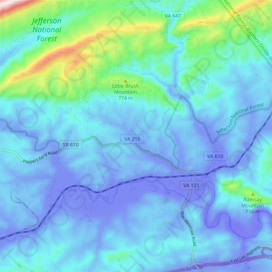 Max Meadows topographic map, relief map, elevations map