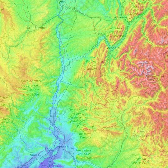 Drôme topographic map, elevation, relief