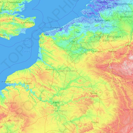 Hauts-de-France topographic map, elevation, relief