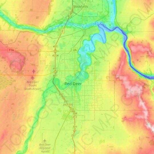 Red Deer topographic map, elevation, relief