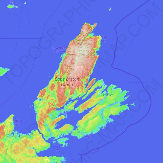 Cape Breton Island topographic map, relief map, elevations map on st. john's map, ontario map, north shore trail map, cape blanco map, bras d'or lake map, cape north nova scotia, cape brenton, nova scotia map, cape cod central railroad map, newfoundland map, canada map, rupert's land map, fortress louisbourg map, physical characteristics of a map, sydney map, muskoka map, cape farewell map, peggy's cove map, gournia map, london map,