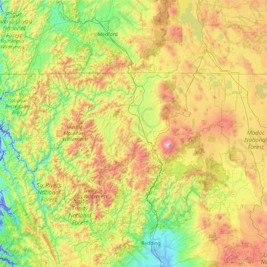 Siskiyou County topographic map, relief map, elevations map