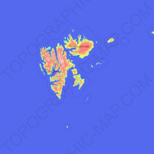 Svalbard topographic map, relief map, elevations map