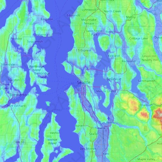 Seattle topographic map, relief map, elevations map