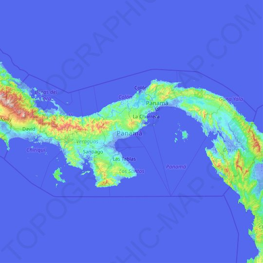 Panama topographic map, relief map, elevations map