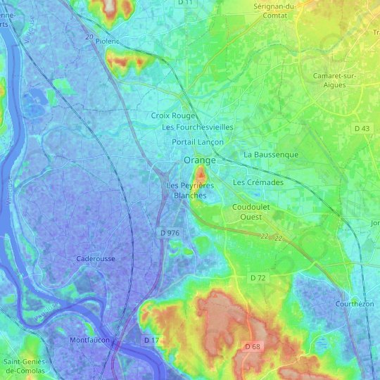 Orange topographic map, relief map, elevations map