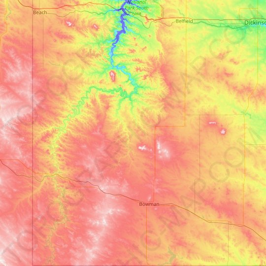 Slope County topographic map, elevation, relief