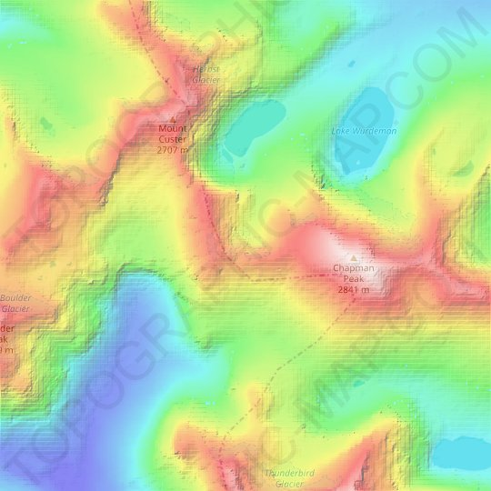 Hudson Glacier topographic map, elevation, relief
