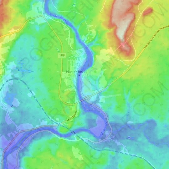 Plaster Rock topographic map, elevation, relief