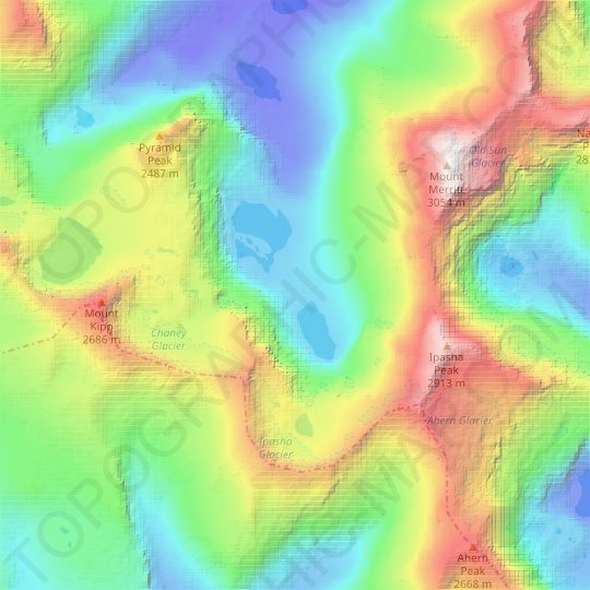 Pyramid Creek topographic map, elevation, relief