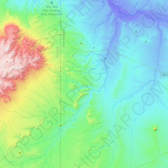 Red Wash topographic map, elevation, relief