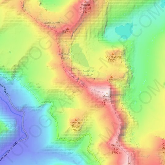 Gem Glacier topographic map, elevation, relief