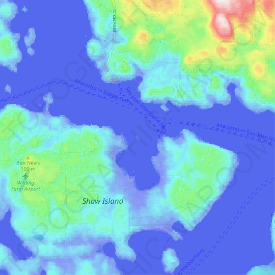 Blind Island topographic map, elevation, relief