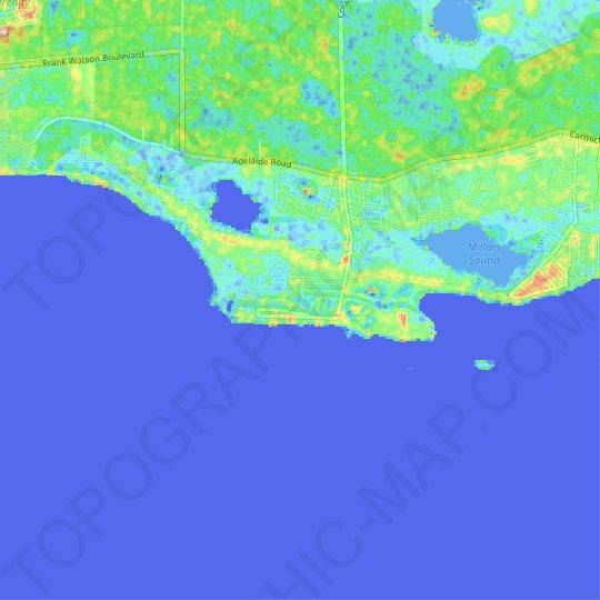 Coral Harbour topographic map, relief map, elevations map