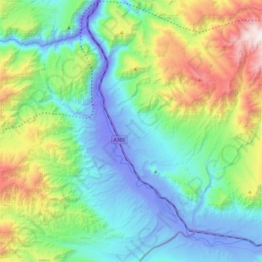 Chu River topographic map, elevation, relief