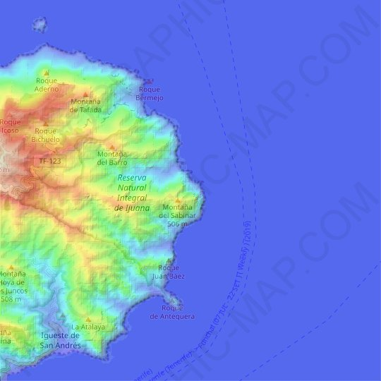 La Palmita topographic map, relief map, elevations map