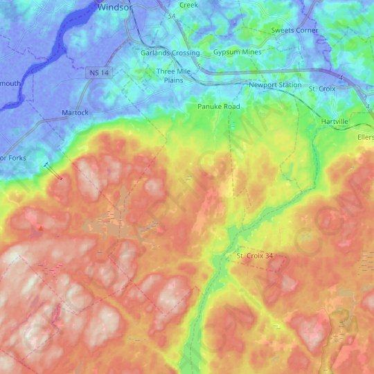 Three Mile Plains topographic map, elevation, relief